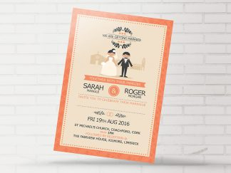 Classic Coral Couple Wedding Invitation