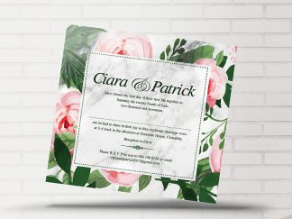 Floral Green & Pink Wedding Invitation