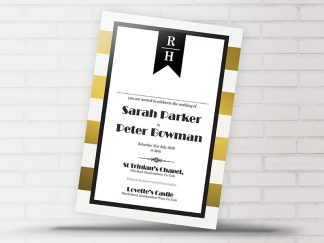 Trinian Gold Stripe Wedding Invitation
