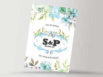 Water Floral Wedding Invitation