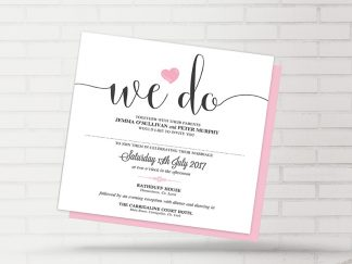 We Do Heart Wedding Invitation