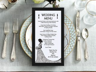 Black & White Bride Dress Menu