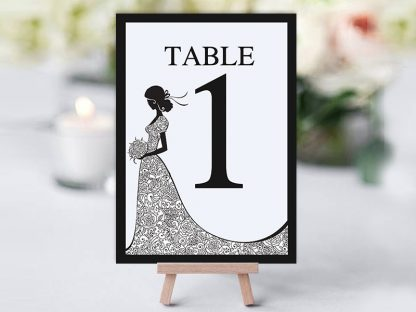 Black & White Bride Dress Table Name
