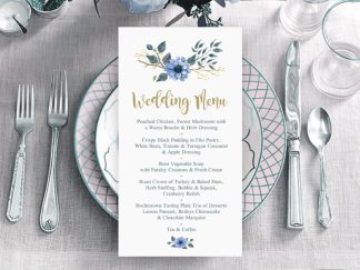 Bohemian Wedding Menu Blue & Gold