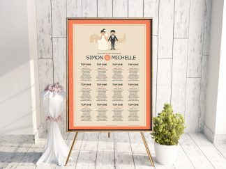 Classic Coral Couple Table Plan