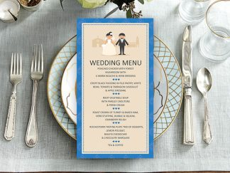 Classic Royal Blue Couple Wedding Menu