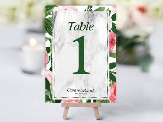 Green Pink Floral Table Name