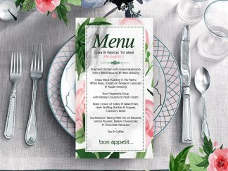 Hogans Floral Green Pink Wedding Menu
