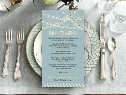 McAree Rustic Lightbulb Wedding Menu