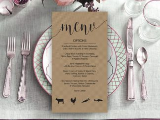 Shine Rustic Wedding Menu