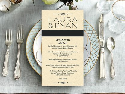 Simple Black & Ivory Wedding Menu