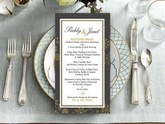 Tis The Season Grey & Gold Wedding Menu