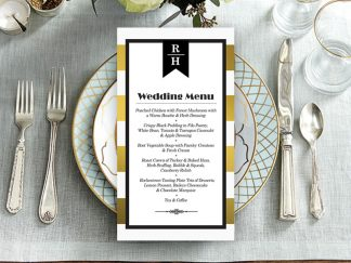 Trinian Gold Stripe Printed Wedding Menus