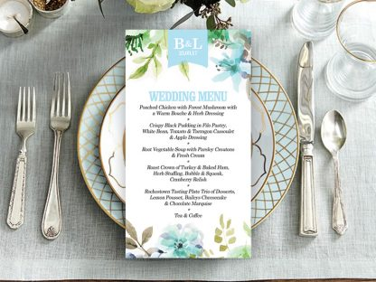 WaterFloral Wedding Menu