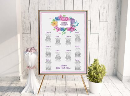 Watercolor Square Table Plan