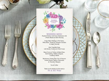Watercolour Square Wedding Menu