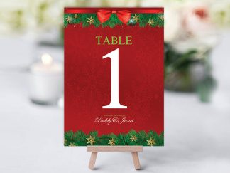 Xmas Holly Wreath Red Table Name