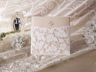 Floral Lace Pocket Laser Cut Wedding Invites