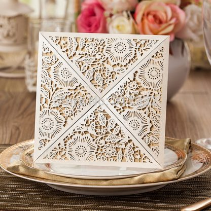 Ivory Floral Laser Cut Wedding Invitation