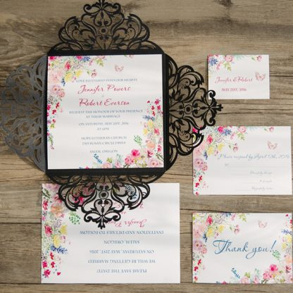 Black Laser Cut Floral Wedding Invite