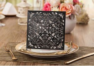 Black Floral 4 Fold Laser Cut Wedding Invites