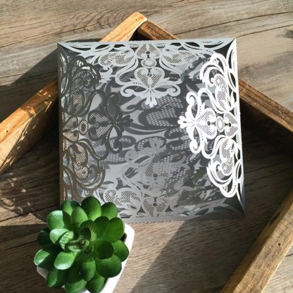 Silver Floral 4 Fold Laser Cut