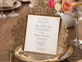 Gold Floral 4 Fold Laser Cut Wedding Invites