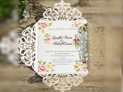 Ivory Floral Laser Cut Wedding Invite