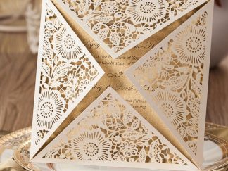 Ivory Floral 4 Fold Laser Cut Wedding Invites