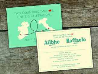 Two Countries Two Hearts Save The Date Card