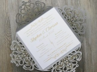 Silver Floral 4 Fold Laser Cut Wedding Invites