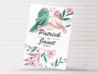 Floral Love Birds Wedding Invitation