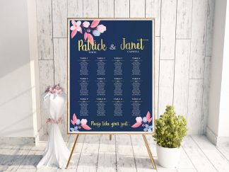 Louisiana Navy Pink Wedding Table Plan