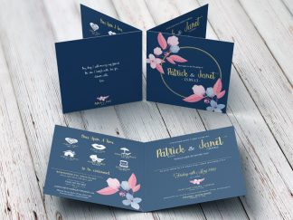 Louisiana Navy Pink Wedding Invites