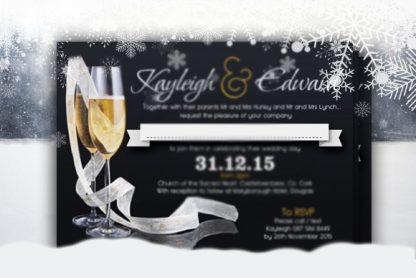 Winter Champagne Wedding Flat Invite