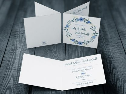 Bohemian Wedding Invitation Blue & Green