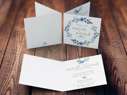 Bohemian Wedding Invitation Blue & Gold Inside