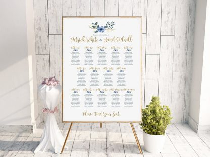 Bohemian Table Plan Blue & Gold