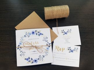 Boho Invitations Blue & Gold