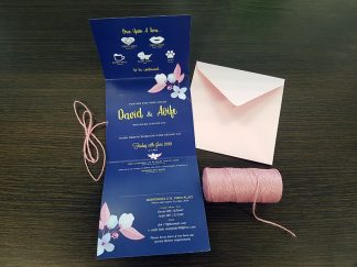 Navy & Pink Floral wedding invitation