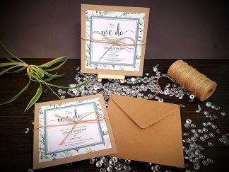 Rustic Leaves Twine Invites