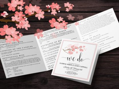 Square Tri Fold Wedding Mass Booklet