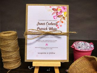 Colourful Rustic Flowers Wedding Invites
