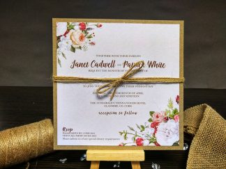 SImple Kraft Floral Wedding Invitation