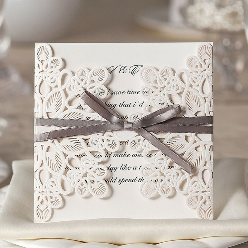 Ivory Floral Lace Laser Cut Invite