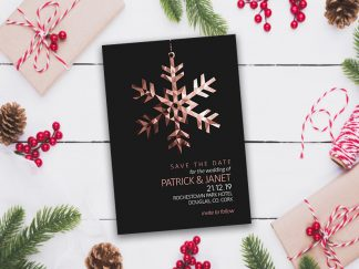 Christmas Snowflake Save The Date - Rose Gold & Black